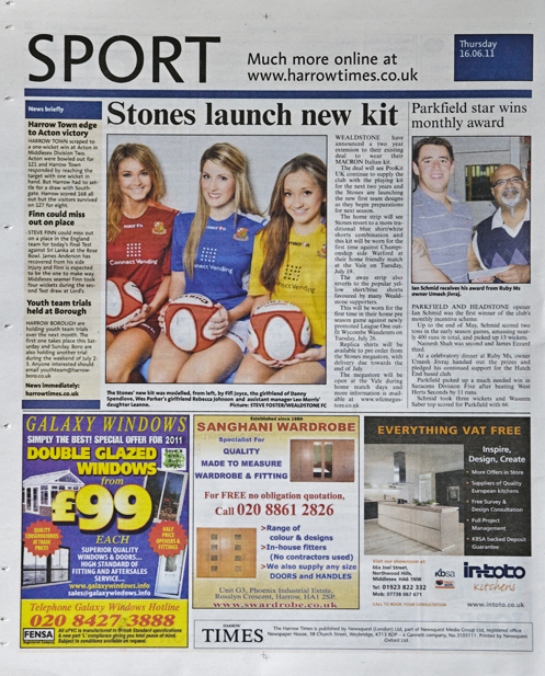 The Harrow Times featuring Wealdstone 2011/2012 kits