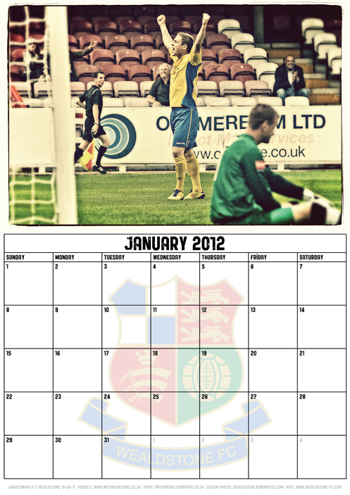 Wealdstone FC Supporters Club Calendar 2012 - January