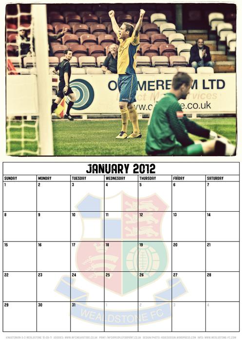 Wealdstone FC Supporters Club Calendar 2012 - January