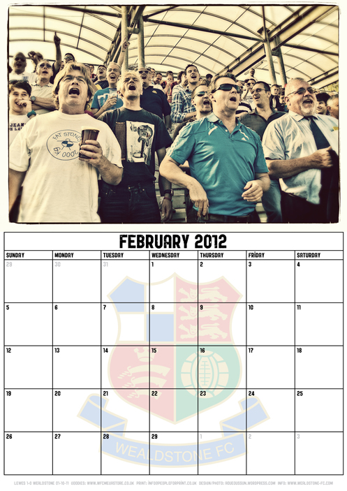 Wealdstone FC Supporters Club Calendar 2012 - February