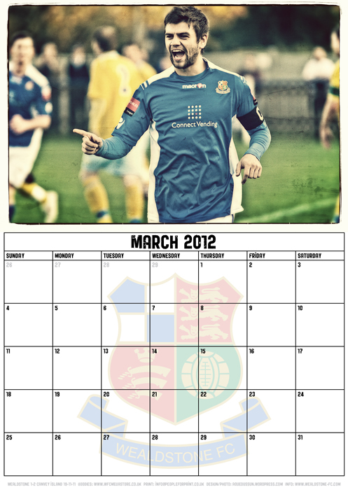 Wealdstone FC Supporters Club Calendar 2012 - March