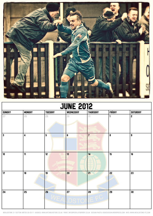 Wealdstone FC Supporters Club Calendar 2012 - June