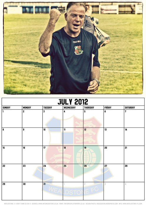 Wealdstone FC Supporters Club Calendar 2012 - July