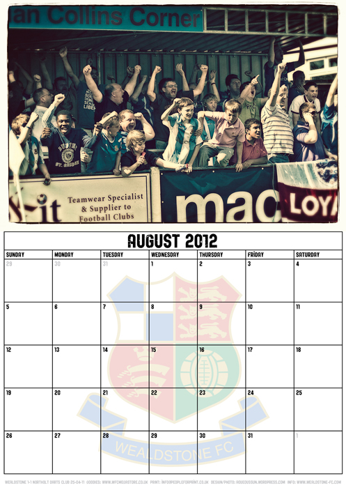 Wealdstone FC Supporters Club Calendar 2012 - August