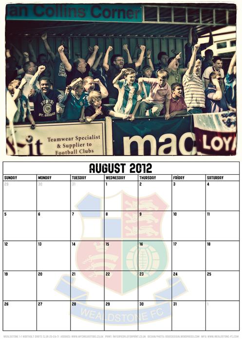 Wealdstone FC Supporters Club Calendar 2012 - August