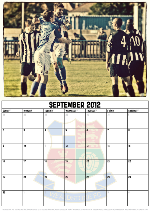 Wealdstone FC Supporters Club Calendar 2012 - September