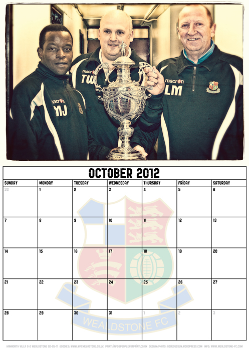 Wealdstone FC Supporters Club Calendar 2012 - October