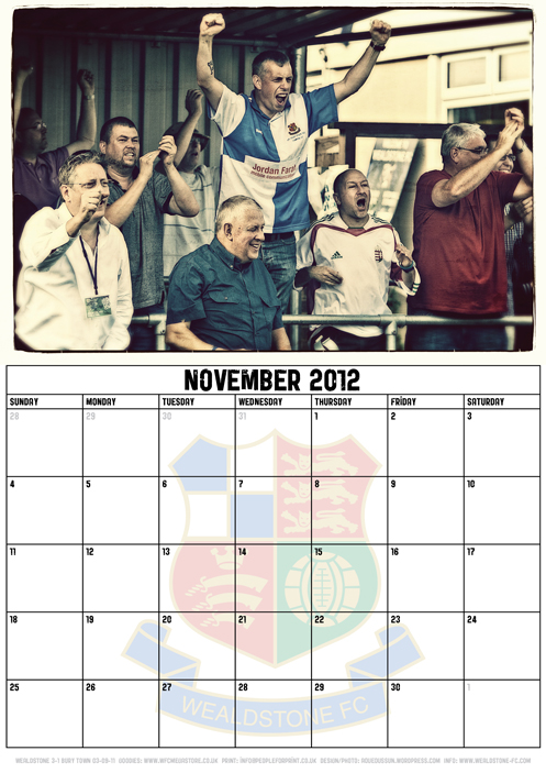 Wealdstone FC Supporters Club Calendar 2012 - November