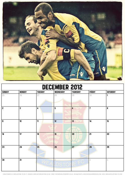Wealdstone FC Supporters Club Calendar 2012 - December