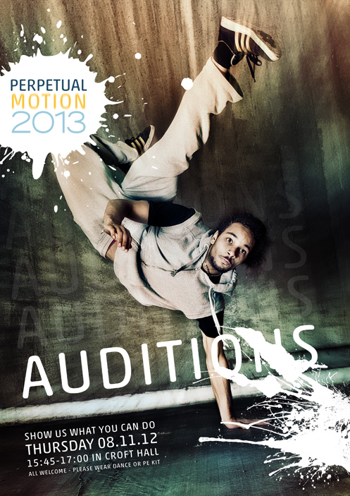 Perpetual Motion 2013 – Auditions Poster 001